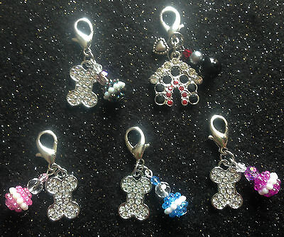 Handcrafted Pet Dog Diamante Clip on Charm Beads Dog Collar Tag Bone Puppy Bling