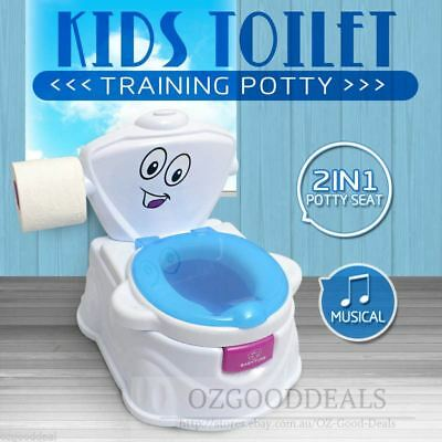 Kids Baby Toddler Toilet Music Training Potty Seat Trainer Chair 2 in1 Blue 1