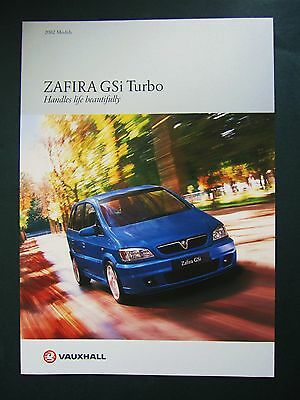 VAUXHALL ZAFIRA GSi TURBO - ORIGINAL UK BROCHURE 2002. Special Edition
