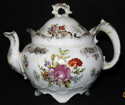 Antique WHEELING Pottery Scalloped & Embossed 4 Cup Bone China Floral Teapot