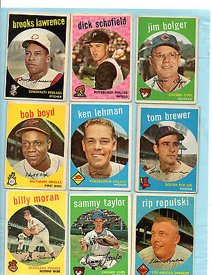 1959 topps set. Choose any 16 cards Pick from huge 220 card lot rookies +
