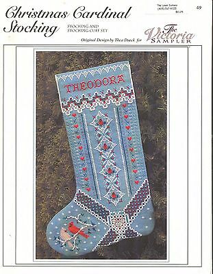 Counted Cross Stitch Pattern by The Victoria Sampler~Christmas Cardinal Stocking