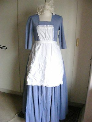 Vintage theatrical costume parlour maid BLUE DRESS apron and mob cap size 12
