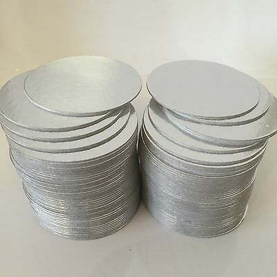 "100 x 3"" Inch ROUND THIN SILVER cake cards Wedding Novelty cut edge BOARDS"
