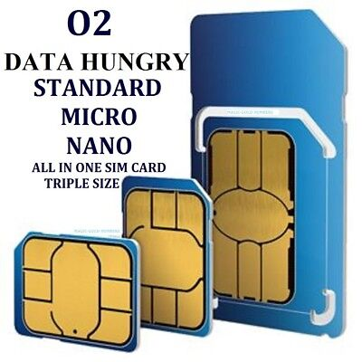 Official O2 Nano Micro Standard Size Sim Card Pay And Go For All O2 Open Phone