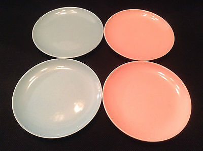 """TST Taylor Smith Taylor Pebbleford FOUR 6 3/8"""" Bread Plates (2 Pink 2 Turquoise)"""