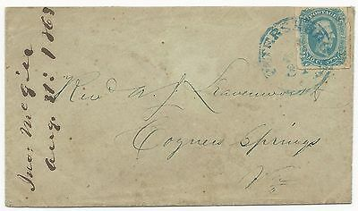 CSA Scott #12a (AD) on Cover Blue Petersburg, VA CDS August 31, 1863 VF