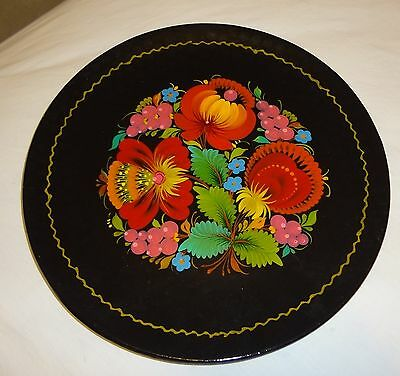 Russian Black and Red Flowers Wood Decorative Dish/Plate