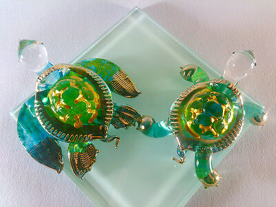 2 TURTLE HAND PAINT GREEN BLUE BLOWN GLASS ART GOLD TRIM FIGURINE DECOR/COLLECT