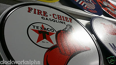 TEXACO FIRE-CHIEF GASOLINE Round Metal SIGN Petroleum Gas Station Mobil Garage