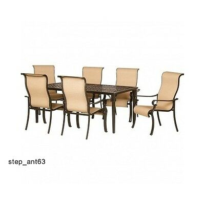 7 Piece Dining Set Cast Top Aluminum Table Chair Outdoor Patio Living Deck Pool