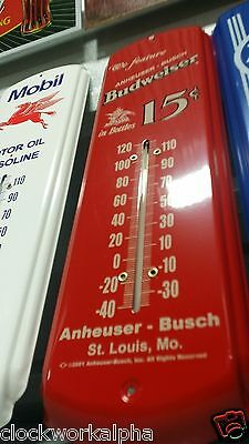 Budwiser  Metal THERMOMETER Bottle Cap Can COKE Cooler Vintage Style Sign Mobil