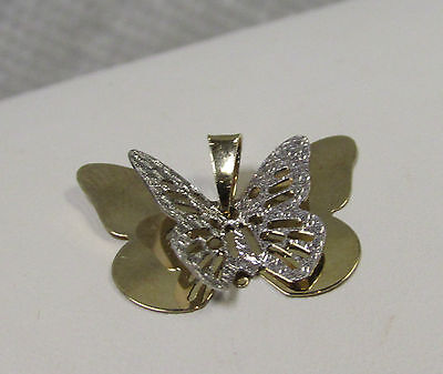 Treasures D'Italia 14K Yellow & White Gold 2 Toned Layered Butterfly Pendant 1g