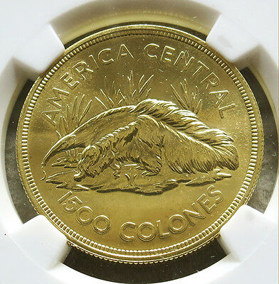 1974 Gold Costa Rica 1500 Colones 2,418 Minted Anteater Ngc Mint State 67
