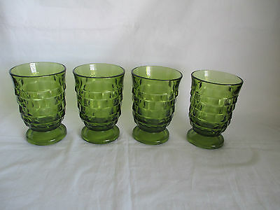 Indiana Whitehall Olive / Avocado Green Footed Juice Glasses 4oz.Set Of 4