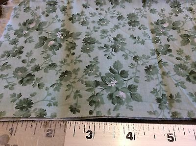 GREEN FLORAL ON PALE GREEN  3/8 YARD