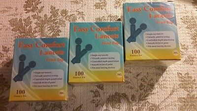 Easy Comfort Glucose lancets  thin 30G 3 Boxes of 100 ea.(300 lancets)