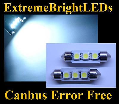TWO WHITE Canbus Error Free 9-SMD 6418 C5W LED License Plate Lights