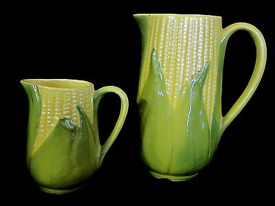 VINTAGE SHAWNEE POTTERY YELLOW/GREEN CORN KING SET: #70 CREAMER AND #71 PITCHER