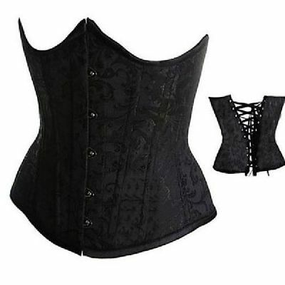 Black Boned Floral Pattern Brocade Underbust Corset   steampunk/cosplay size Sm