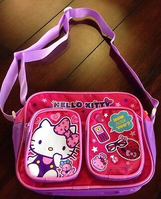 New Sanrio Hello Kitty  Kid's Nylon Shoulder Bag With 2 Front Pockets