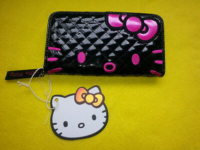 Hello Kitty Sanrio Loungefly Black Quilted Face Patent Wallet Clutch Zip- Around