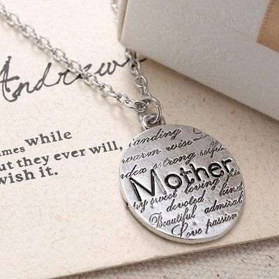 Mother Day Gift Letter Engraved Pendant Charm Necklace Chain Silver Mom Jewelry