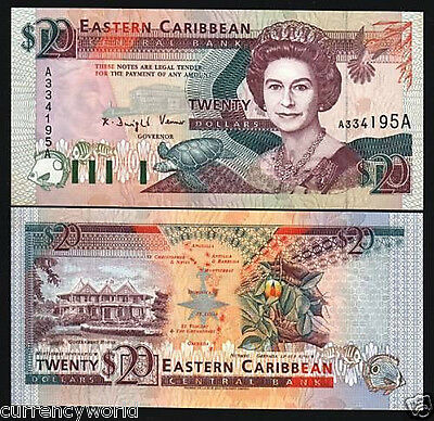 East Caribbean States $20 28a 1993 Queen Animal Turtle Antigua UNC Note FreeShip