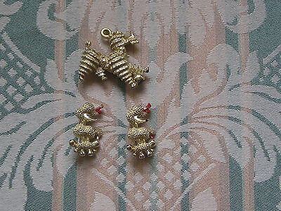 Vintage 1960's/1970's? Gold Toned Poodle Pins/Brooches Lot of (3)