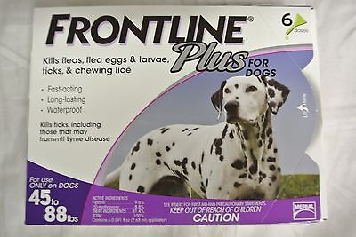 New Merial Frontline Plus 6 Pack For Dogs 45 Lbs to 88 Lbs No Expiration
