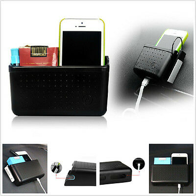 Car Portable Storage Box Organizer Cell Phone Sundries Easy Charging With Hole