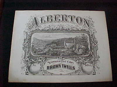 LOVELY ENGRAVED LABEL ALBERTON TEXTILE MILL DANIELS MD C 1850'S-60'S