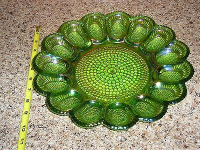 Green iridesent carnival glass egg platter hobnail lots of blue and pink