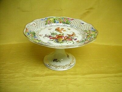 Old Reticulated Painted Dresden Flower Porcelain Compote Schumann Bavaria German