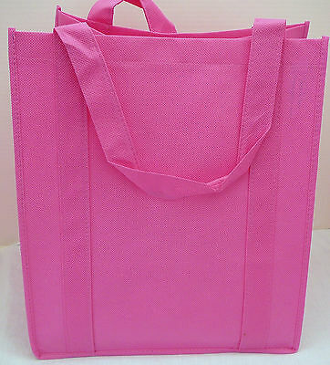 Lot of 5 Reusable HOT PINK GROCERY BAGS- Heavy Duty EcoFriendly Shopping Totes