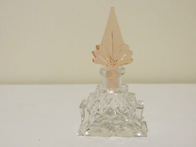 Czech clear crystal perfume bottle with pink art deco dauber, stamped