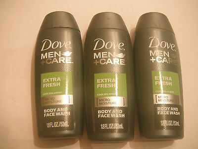 Lot of 3 Dove.men+care body and face wash.,travel size