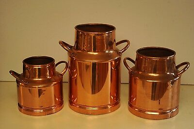 a set of 3 vintage copper milk can very good quality
