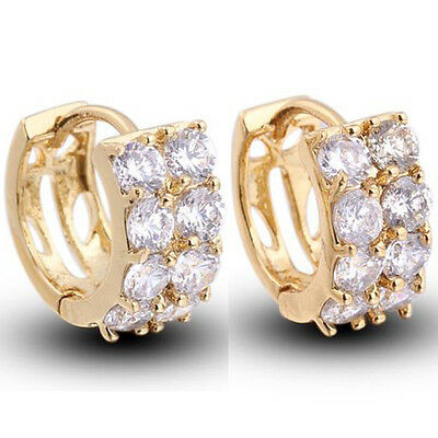 Free shipping 18k Yellow gold filled White sapphire huggie Hoop earring 0449