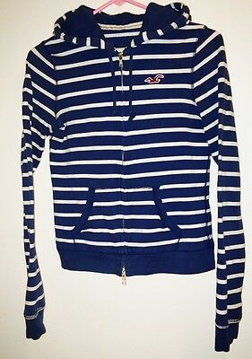 HOLLISTER HOODIE—S SMALL—BLUE & WHITE STRIPES—EUC—SOFT & WARM COTTON! LOOK!