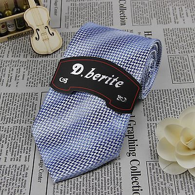 Light Blue 100% Silk Striped Jacquard Woven Wedding Groom Party Necktie BP230