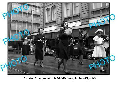 OLD LARGE PHOTO, SALVATION ARMY MARCH, BRISBANE 1963 QLD