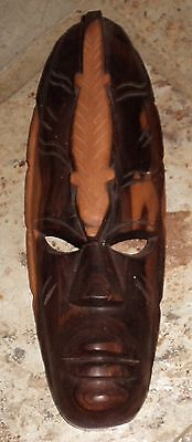 Vintage ~ Old Carved Wood Timber Tribal Mask Ornament Estate~  Collectable