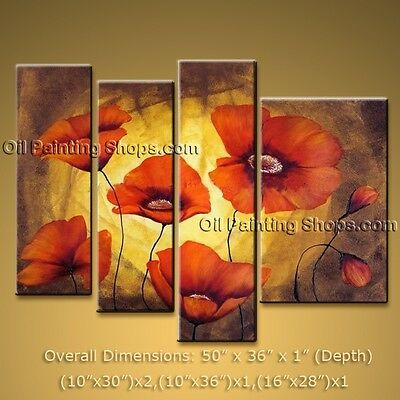 Hand Painted Original Art Oil Painting On Canvas Modern Abstract Poppy Flowers