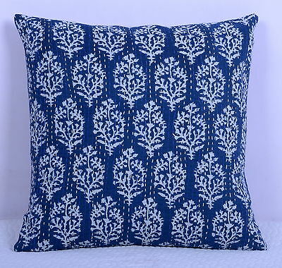 """16"""" BLUE KANTHA VINTAGE PILLOW CUSHION COVER THROW Ethnic Decorative Indian Art"""