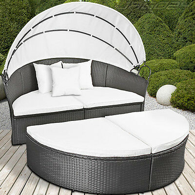Rattan Day Bed Lounger Table Wicker Garden Retractable Sun Shade Roof