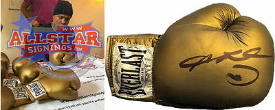 Sugar Ray Leonard Signed Gold Everlast Boxing Glove & Proof Hearns Duran Hagler