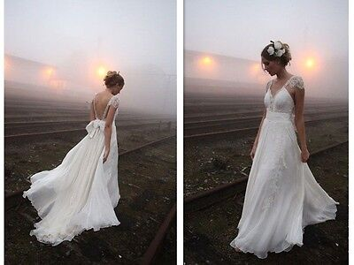 2015 New Noble white Lace Cap Sleeve Wedding Dresses Backless Custom Bride Gowns