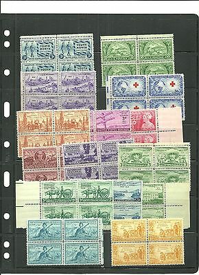 U.S.A. - 25 UNUSED COMMEMORATIVE BLOCKS OF 4 STAMPS EACH ISSUED 1940/1950 (MNH)