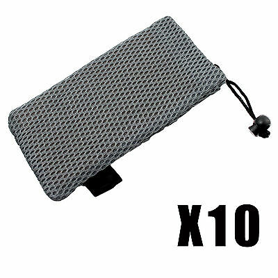 10 X Grey Soft Padded Mesh Drawstring Glasses Case Pouch Sunglasses Spectacles